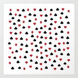 Hearts, clowers, diamonds and spades Art Print