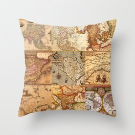 Old maps Throw Pillow