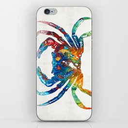 Colorful Crab Art by Sharon Cummings iPhone Skin