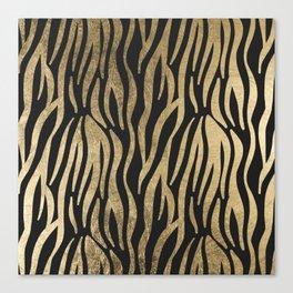 Modern elegant black faux gold trendy zebra animal print Canvas Print