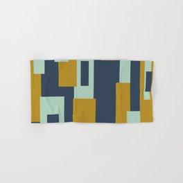 Cosmopolitan Mid Century Modern Geometric Pattern Mint Mustard Blue Hand & Bath Towel