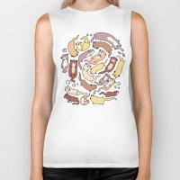 otters Biker Tanks featuring Adorable Otter Swirl by KiraKiraDoodles