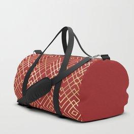 Modern Chinese Red Art Deco Geometric Pattern Duffle Bag
