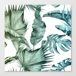 Tropical Palm Leaves Turquoise Green Blue Gradient Canvas Print
