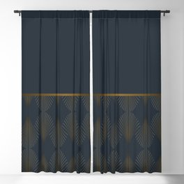 Art Deco Gold/Navy Pattern Blackout Curtain