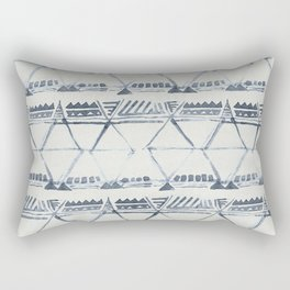 Simply Tribal Shibori in Indigo Blue on Lunar Gray Rectangular Pillow
