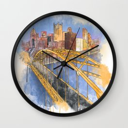 Pittsburgh Fort Pitt and Downtown Wall Clock