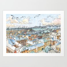 Panoramic of Genoa Art Print