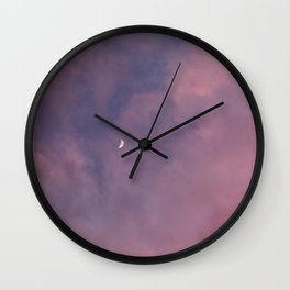 Crescent Moon and Pink Clouds Wall Clock