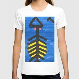 Fish bone watercolor T-shirt