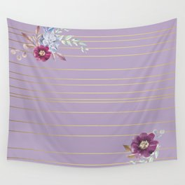 Pastel Watercolor Floral with Metallic Stripes Wall Tapestry