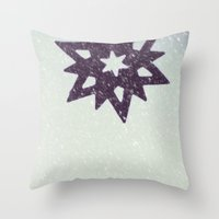 snowflake Throw Pillows featuring snowflake by Beverly LeFevre