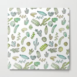 Cute Green Watercolor Paint Summer Cactus Pattern Metal Print