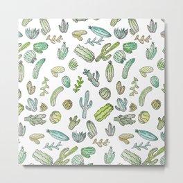 Cute Green Watercolor Paint Summer Cactus Pattern Metal Print