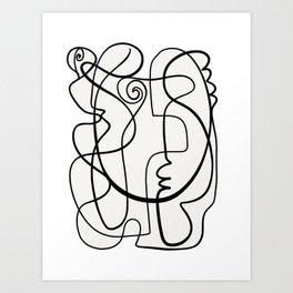 Line Art Black and White Portrait by Emmanuel Signorino Art Print