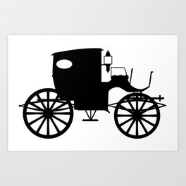 Old Carriage Silhouette Art Print