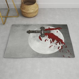 Red Black Grey Salvation Cross Wings Moon Gothic Art A624 Rug