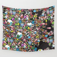 sticker Wall Tapestries featuring Sticker Bomb by thickblackoutline