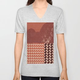 Abstraction in terracotta and maroon  Unisex V-Neck