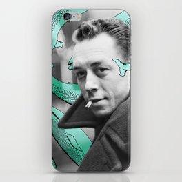Albert Camus with calm whales iPhone Skin