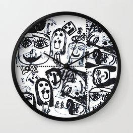Funny Face | Pop Art | Black and White Wall Clock
