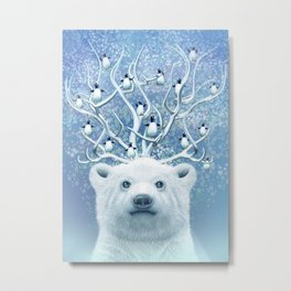 POLAR BEAR HORNS UP Metal Print