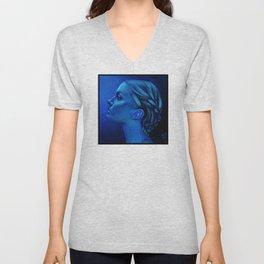 Blauw Unisex V-Neck