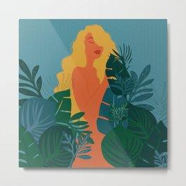 Naturist // Woman, Plants, Forest, Leaf, Leaves, Nature, Natural Metal Print