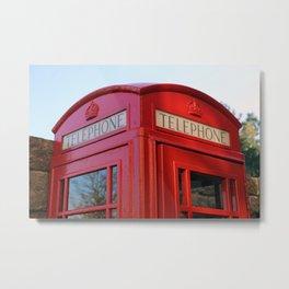 London Telephone Box, British phone booth, UK telephone kiosk Metal Print