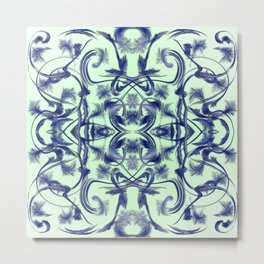 blue in blue Digital pattern with circles and fractals artfully colored design for house and fashion Metal Print