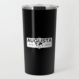 Augusta Maine GPS Coordinates Map Artwork with Compass Travel Mug