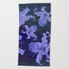 night lilies Beach Towel