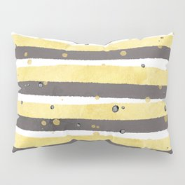 Modern yellow white gray watercolor splatters stripes Pillow Sham