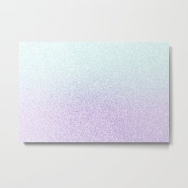 Colorful Purple and Green Watercolor Trendy Glitter Mermaid Pastel Iridescent Metal Print