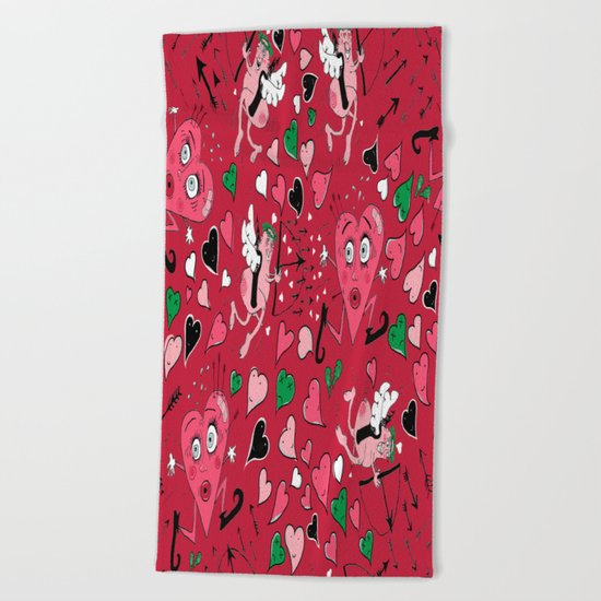 Cupid in Red Beach Towel