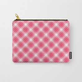 Pink Diagonal Plaid Pattern Carry-All Pouch