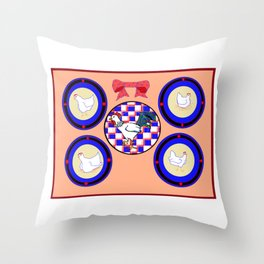 A Country Wall of Plates with Chickens and a Bow Throw Pillow