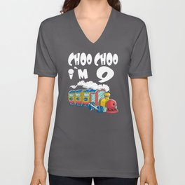 Choo Choo I'm 9 Children's Birthday Train Unisex V-Neck