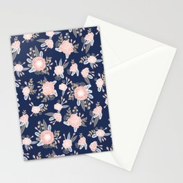Floral bouquet pastel navy pink florals painted painted metallic pattern basic minimal pattern print Stationery Cards