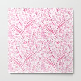 Mermaid Toile - Hot Pink Metal Print
