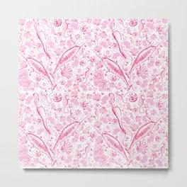 Mermaid Toile - Hot Pink Metal Print