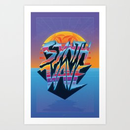 "Outrun 1980s Poster ""Synthwave"" Text Art Print"