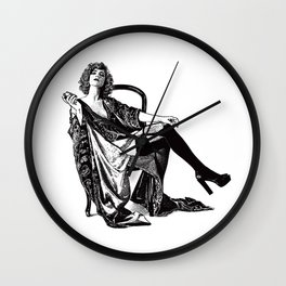 Retro Woman Wearing Vintage Lingerie and Drinking from Flask Wall Clock