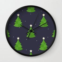 Green Christmas Tree Pattern Wall Clock