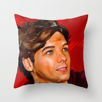 louis tomlinson Throw Pillows featuring Louis Tomlinson  by Tune In Apparel