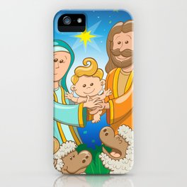 Sweet scene of the nativity of baby Jesus iPhone Case
