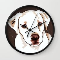 golden retriever Wall Clocks featuring Golden retriever by Pendientera