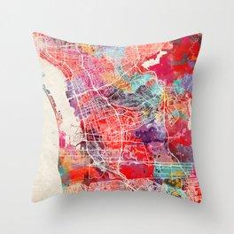 Chula Vista map California painting 2 Throw Pillow