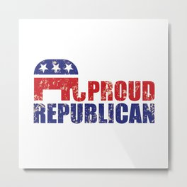 Proud Republican Elephant Distressed Tan Metal Print