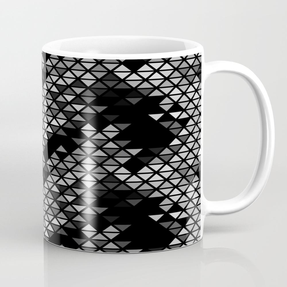 Geometric Fractal Triangles Black Noir Mug by Tobefonseca MUG7759563